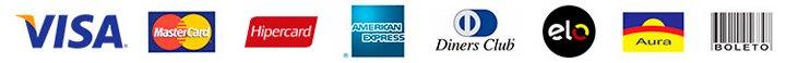 Pagamentos pelas bandeiras Visa, Mastercard, Hipercard, American Express, Diners Club, Elo, Aura e através de Boleto