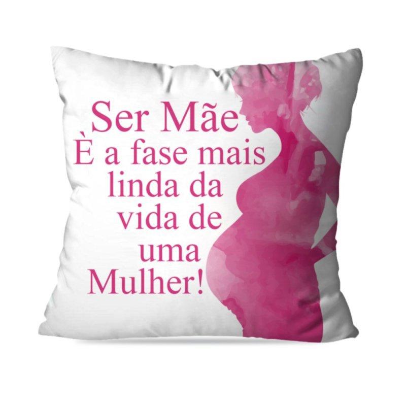 ade0d3e9628217 Capa de Almofada Avulsa Decorativa Ser Mãe é a fase mais linda 35x35cm