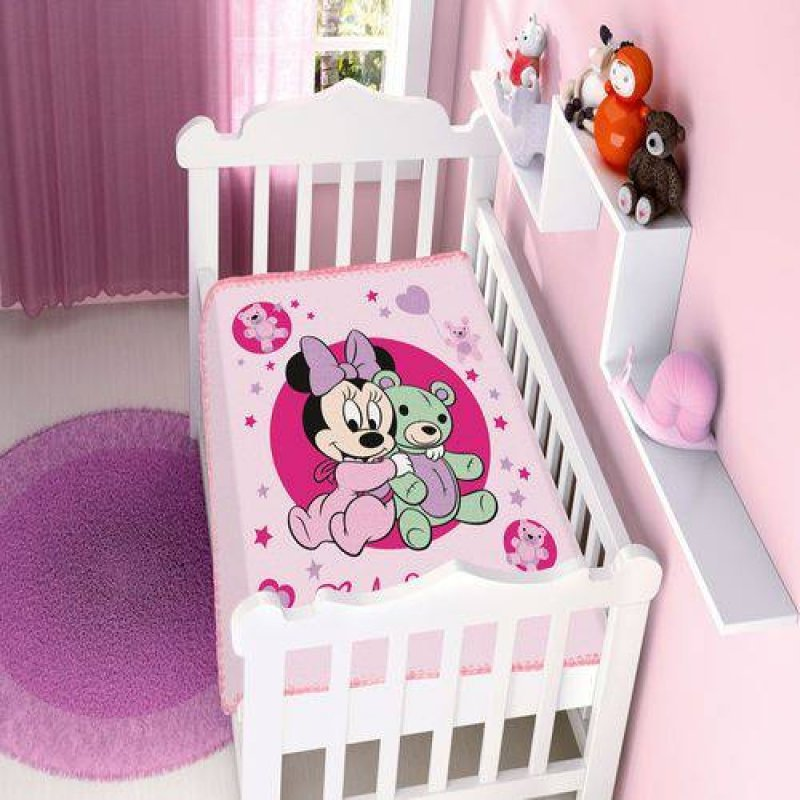 c11299daa5 Cobertor Infantil Disney Baby Raschel Minnie Ursinho rosa - Jolitex
