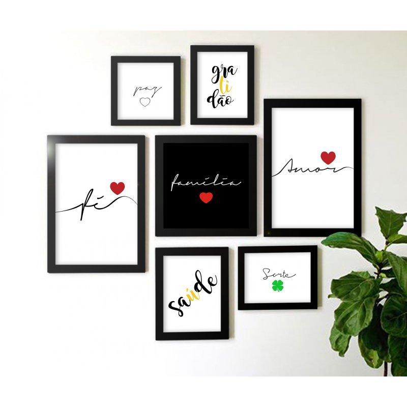 d96af7d3d Composição Kit de 7 quadros Decorativos Amor Fé Família - MadeiraMadeira