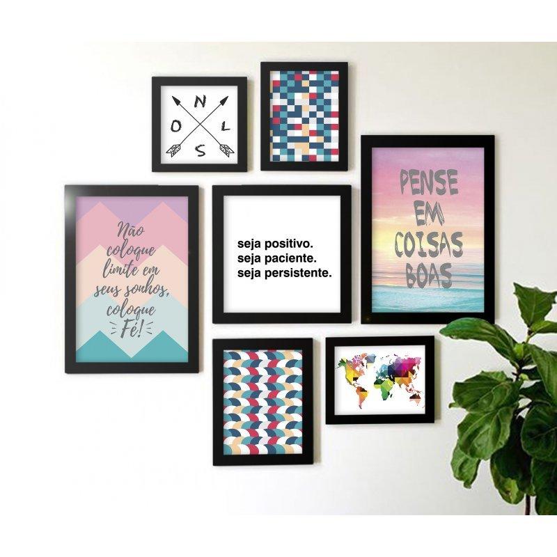 e8e371a79 Kit de Quadros Decorativos 3 Peças Mais Amor Por Favor Gratidão Los ...