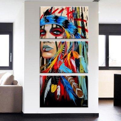 f151cb5fc Conjunto de 3 Telas Decorativas em Canvas India Apache Médio -  MadeiraMadeira
