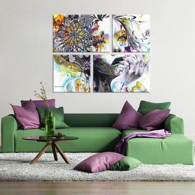 2a7cfea78 Conjunto de 4 Telas Decorativas em Canvas Face Único - MadeiraMadeira