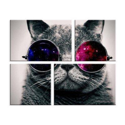 Conjunto de 4 Telas Decorativas em Canvas Gato de Óculos Único ... 38e2e6dda6