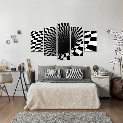 b4f75d16c Conjunto de 5 Telas Decorativas em Canvas Abstrato Face Black Grande ...