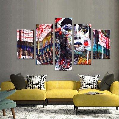 f6df07b88 Conjunto de 5 Telas Decorativas em Canvas Color Face Life Grande ...