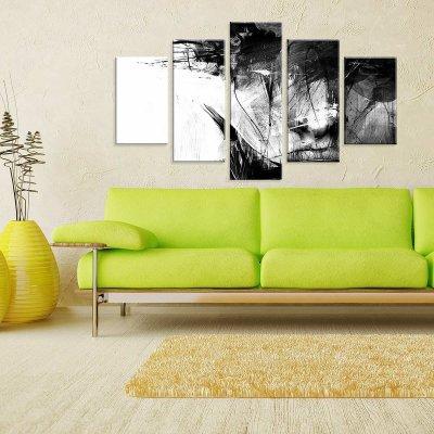 47d07071f Conjunto de 5 Telas Decorativas em Canvas Traços Face Grande -  MadeiraMadeira