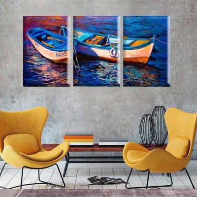 015191977 Conjunto de Telas Decorativas Pintura Barcos Grande - MadeiraMadeira