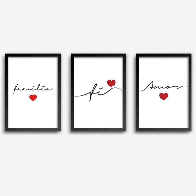 26a098bf7 Conjunto Quadros Decorativos Fé Amor Família com Vidro A4