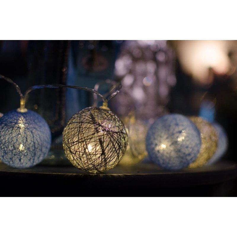 3e830f9cb Cordão de luz Natal SilverBlue - ornamentação árvores decoração festa e  mesa 20 leds - PILHAS