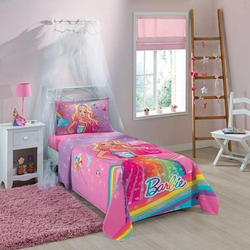 1ceeb1155 Jogo de Cama Infantil Barbie Reino do Arco-íris 3 Peças
