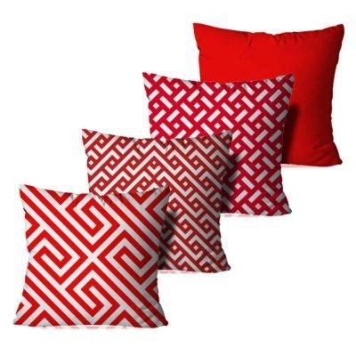 cdb0d13a3 Kit 4 Capas Para Almofadas Decorativas Geométrica Vermelha e Branca 35x35cm