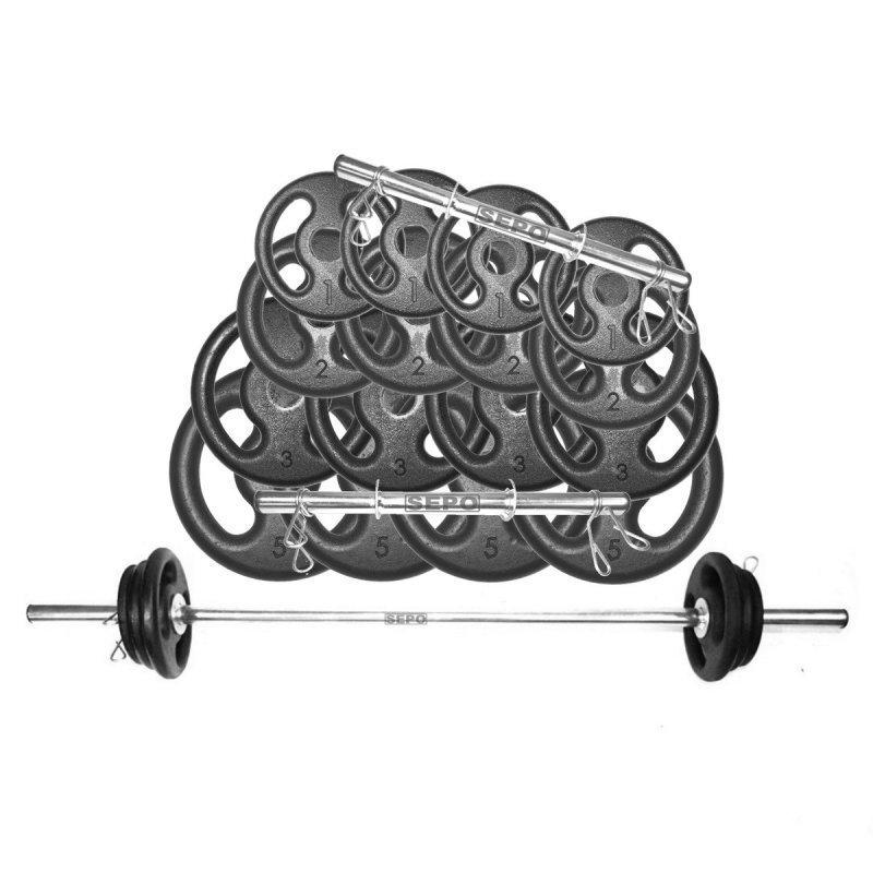 d79ccab2d Kit Anilhas e Barras Musculação com Presilhas 44 Kg - MadeiraMadeira