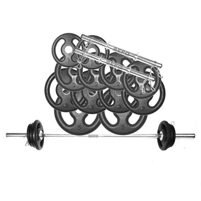 956b353ec Kit Anilhas Musculação 32 Kg + Barras com Presilhas