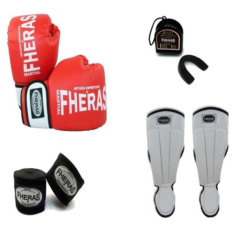 4f84e2851 Kit Boxe Muay Thai Orion -Luva Bandagem Bucal Caneleira Anatômica -08 oz  Vermelho Branco Vermelho+Branco