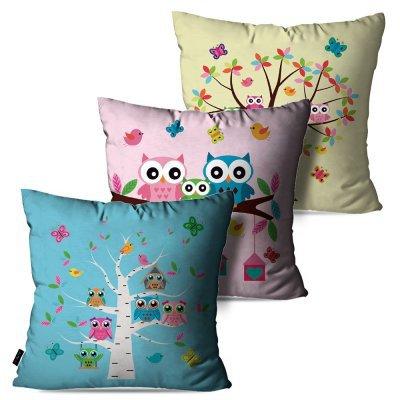 242cf17b3 Kit com 3 Almofadas Decorativas Infantil Coloridas Corujas 60x60cm -  MadeiraMadeira