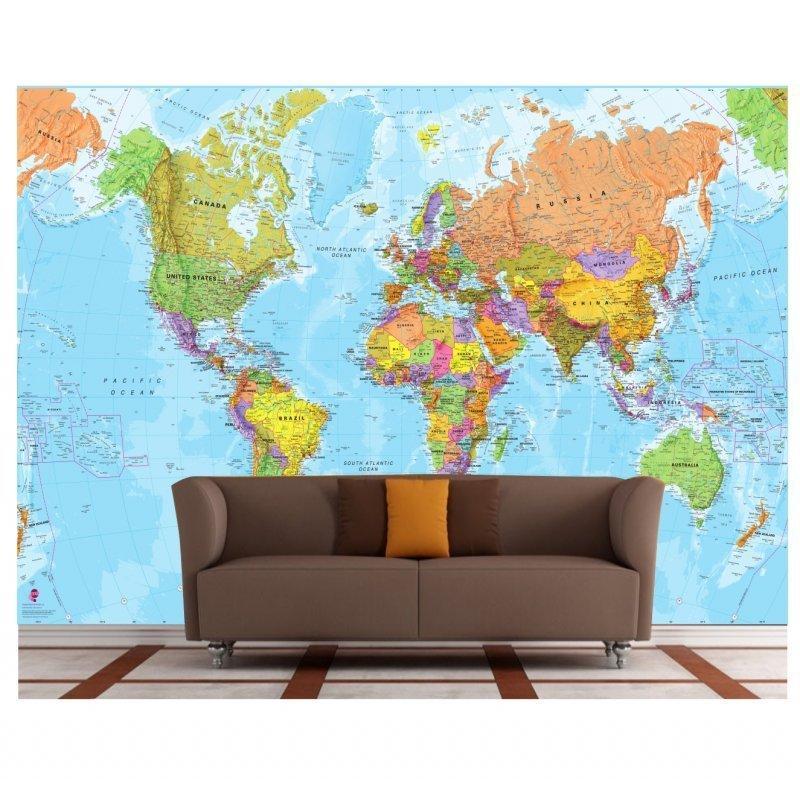 Mapa Mundi Adesivo Gg Papel De Parede 5m Gigante Gg40 Colorido