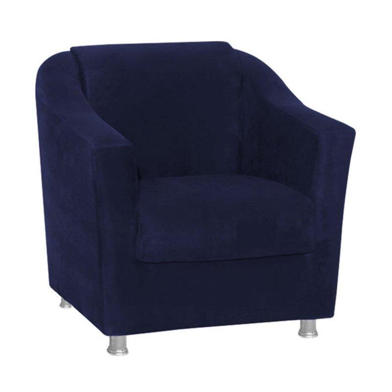 Poltrona Decorativa Tilla para Sala e Recepção Suede Azul Marinho - D Rossi 331c5b8903