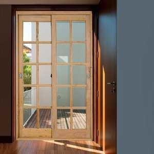 Kit Porta de Correr Madeira PE621 Gold Natural 216cm x 200cm Esel Eucalipto