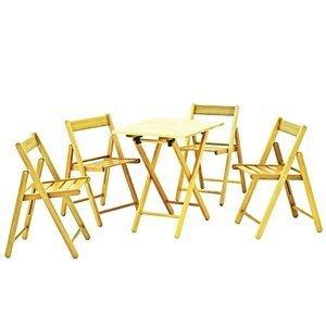 Conjunto Mesa e 4 Cadeiras Dobráveis Aconchego Tramontina Natural