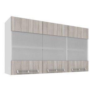 Armário Aéreo com 3 Portas de Vidro 1,20m Art in Móveis Mia Coccina Branco/Fresno