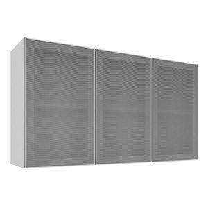 Armário Aéreo com 3 Portas de Vidro 1,20m Art in Móveis Mia Coccina Branco/Alumínio