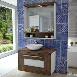 Gabinete para Banheiro com Espelheira Verona (Não Acompanha Cuba e torneira) Celta Móveis Nogal Sevilha/Branco