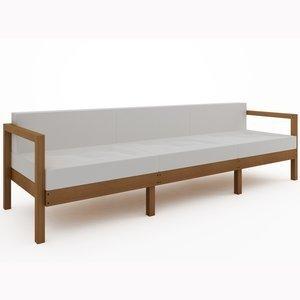 Sofá Lazy 3 lugares (com almofada) 01-237 Mão e Formão Jatobá