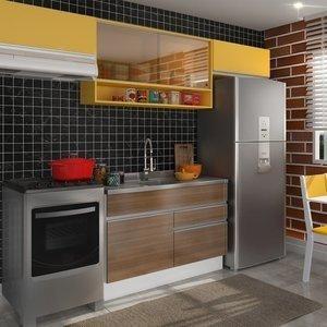 Cozinha Compacta Glamy Marina (Não acompanha Tampo e Pia) Madesa Branco/Western Teka/Amarelo