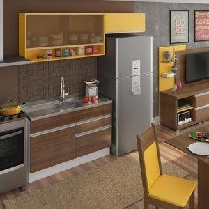 Cozinha Compacta Carol Madesa Branco/Western Teka/Amarelo