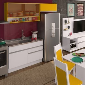 Cozinha Compacta Carol Madesa Branco/ Amarelo