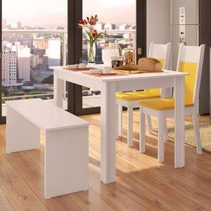 Sala de Jantar Mesa e 2 Cadeiras e 1 Banco Madesa Mara Branco/Amarelo