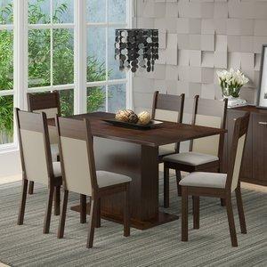 Conjunto Sala de Jantar Mesa 6 Cadeiras Louisiana Madesa Tabaco/Crema/Pérola