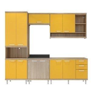 Cozinha Compacta 5142 Sicília Multimóveis (Não Acompanha Tampo) Argila/Amarelo Gema