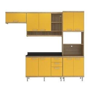 Cozinha Compacta 5145 Sicília Multimóveis (Não Acompanha Tampo) Argila/Amarelo Gema
