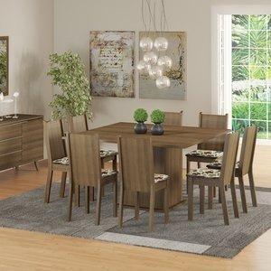 Conjunto Sala de Jantar Mesa e 8 Cadeiras Madesa Clarice Rustic/ Floral Hibiscos