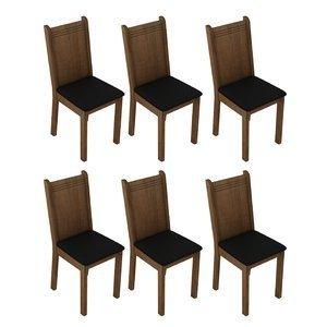 Conjunto 6 Cadeira 4290X Madesa Rustic/Preto