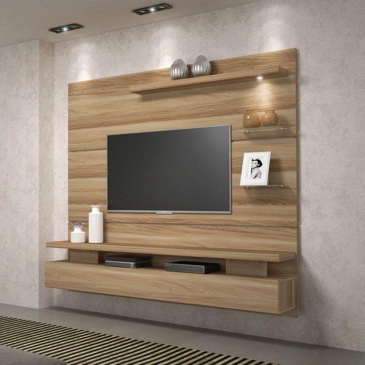 Painel Para Tv At 233 65 Polegadas Com Nicho Greco Moderno Dj
