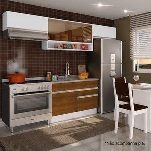 Cozinha Compacta Glamy Marina (Não acompanha Tampo e Pia) Madesa Branco/Rustic