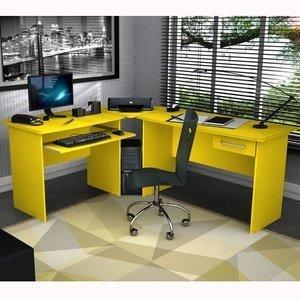 Mesa para Escritório em L 1 Gaveta Master Zanzini Amarelo