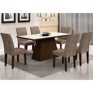 Conjunto Sala de Jantar Mesa Tampo Vidro/MDF Branco Luna 6 Cadeiras Grécia Rufato Castor/Animalle Chocolate