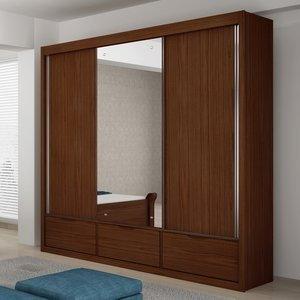 Guarda Roupa Casal com Espelho 3 Portas Annecy Valverde Móveis Imbuia