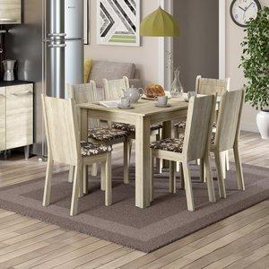 Conjunto Sala de Jantar Mesa e 6 Cadeiras Maris Madesa Acácia/Cacau
