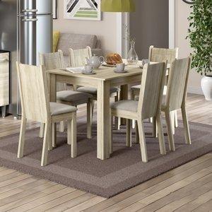Conjunto Sala de Jantar Mesa e 6 Cadeiras Maris Madesa Acácia/Pérola