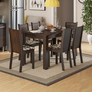 Conjunto Sala de Jantar Mesa e 6 Cadeiras Maris Madesa Tabaco/ Cacau