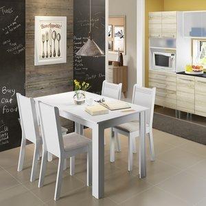Conjunto de Mesa com 4 Cadeiras Rosie Madesa Branco/Pérola