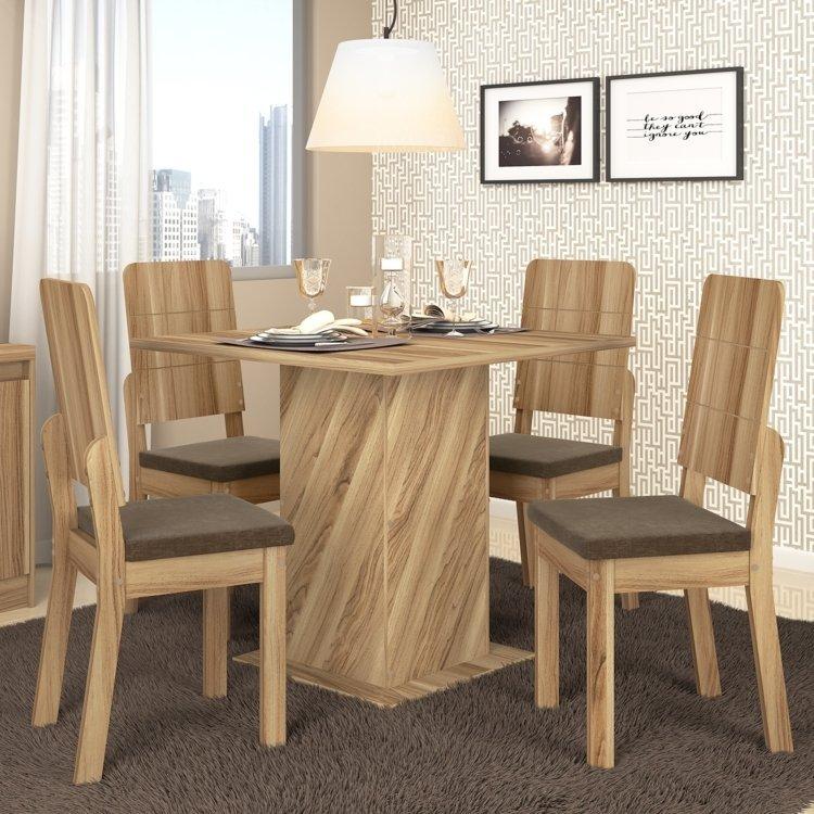 Conjunto sala de jantar mesa em madeira formosa 4 cadeiras for Sala 2 conjunto de artes escenicas