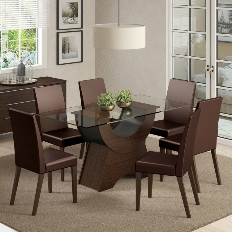 Conjunto sala de jantar mesa e 6 cadeiras sinuosa madesa for Sala 2 conjunto de artes escenicas