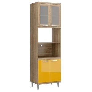 Paneleiro para Forno com Porta de Vidro 5120 Sicília Multimóveis Argila/Amarelo Gema
