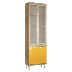 Paneleiro com Porta de Vidro 70cm 5121 Sicília Multimóveis Argila/Amarelo Gema